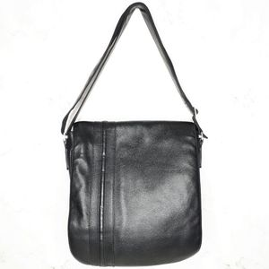 Kristy X Leather Messenger Bag Flap Magnetic Black
